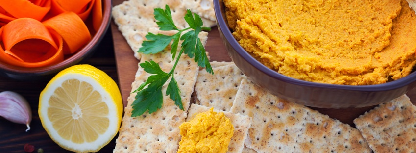 carrot hummus recipe, healthy snack idea